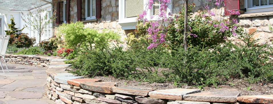 Detailed shot of the dry stacked retaining wall